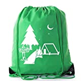 Mato & Hash Camping Drawstring backpack for Birthday parties and Summer Camp - 10PK Forest Green CA2500Camping S1