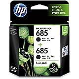 HP 685 Black Ink Cartridge, Pack of 2