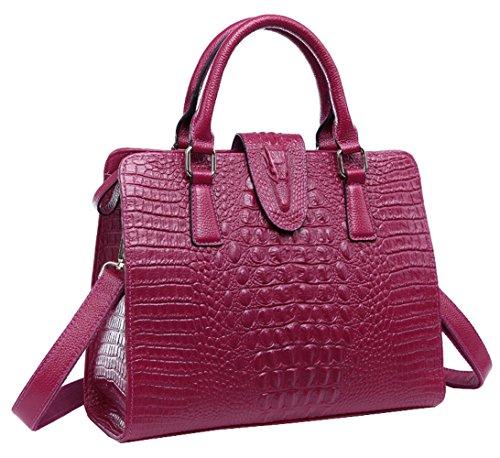 Saierlong Had Women's Crocodile Purple Plum Cowhide Commuter Bag Handbag Shoulder Bag Saierlong-p