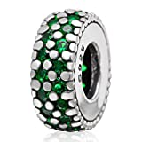 Solid 925 Sterling Silver 'Emerald Green CZ Spacer' Charm Bead 3443 for European Snake Chain Bracelets