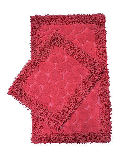 (Chiara Rose Cotton 2 Piece Bath Rug Set Extra Large Absorbent Quick Dry Bathroom Toilet Mat)