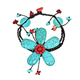 AeraVida Handmade Simulated Turquoise & Reconstructed Red Coral Large Flower Organic Bracelet