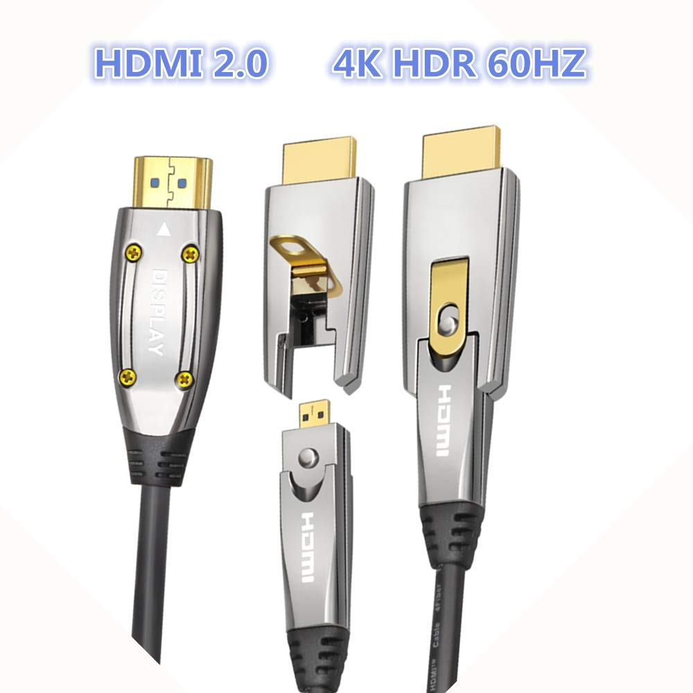HDMI Fiber Optic Cable 50ft, Easy-Installed Detachable Cable, 18Gbps High Speed Cable 2.0 4K 60HZ Fiber Optic ARC,HDR10,3D,IMAX,Dolby Vision,HDCP2.2, 4:4:4 UltraPro HDMI (50ft/15m)