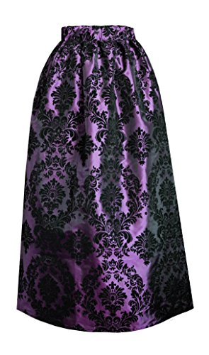 Victorian Steampunk Gothic Civil War Medieval Renaissance Patterned Skirt (Purple) Civil War Clothing Women