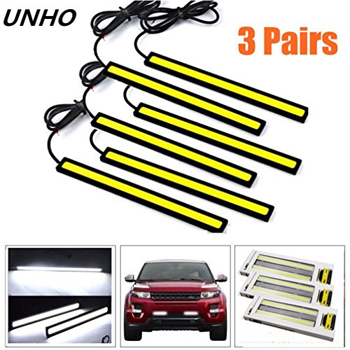 Amon Tech 6PCs Universal Waterproof Car Trucks Daytime Running Light Lamp Super Bright 12V LED Strips COB Car Led Fog Light