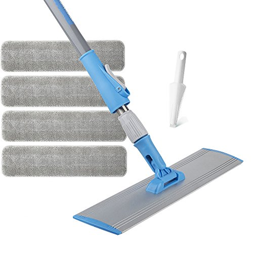 Wet Mop 18'' Microfiber Mop Dry Mop For Home Bathroom Hardwood Laminate Cleaning 4 FREE Microfiber Pads + 1 Dirt Removal Scrubber by YOUSHANGJIA