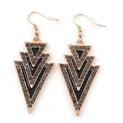Black, Grey Enamel Crystal Triangular Drop Earrings In Gold Plating - 60mm Length