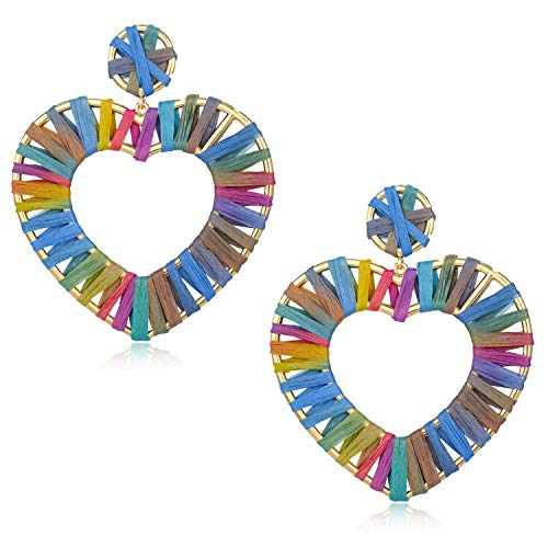 - Statement Raffia Earrings Hoop Geometric Beaded Handmade Colorful Bohemian Dangle Earrings for Women Girls