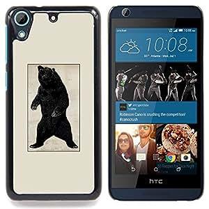 """Qstar Arte & diseño plástico duro Fundas Cover Cubre Hard Case Cover para HTC Desire 626 (Negro Oso Grizzly Rugido - cartel de la vendimia"""")"""