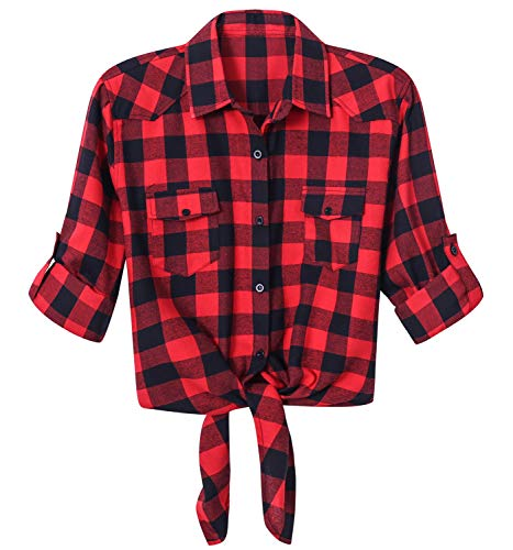 LATUD Women's Quarter Short Sleeves Tie Front Crop Plaid Flannel Button Down Shirt Blouse, Red Black, Large ()
