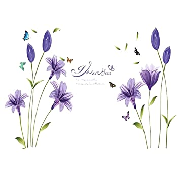 DIY Removable Decal PVC Lily Flower House Wall Sticker Living Room Decor