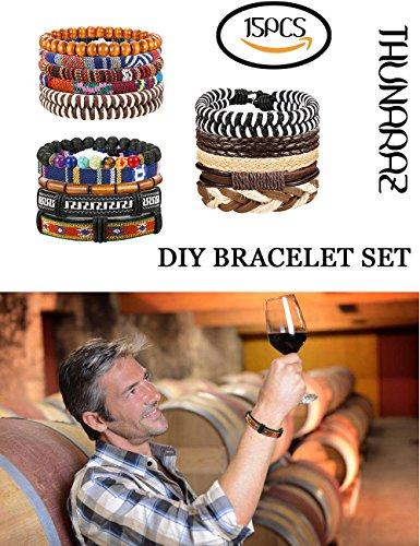 Thunaraz 15Pcs Braided Leather Bracelets for Men Women Natural Stone Wooden Beaded Bracelet Bangle Wrap Adjustable by Thunaraz (Image #2)