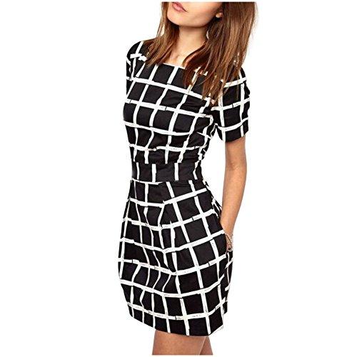 Damen Sommerkleider IHRKleid® LatticeStreifen Kurzarm Kleid ...