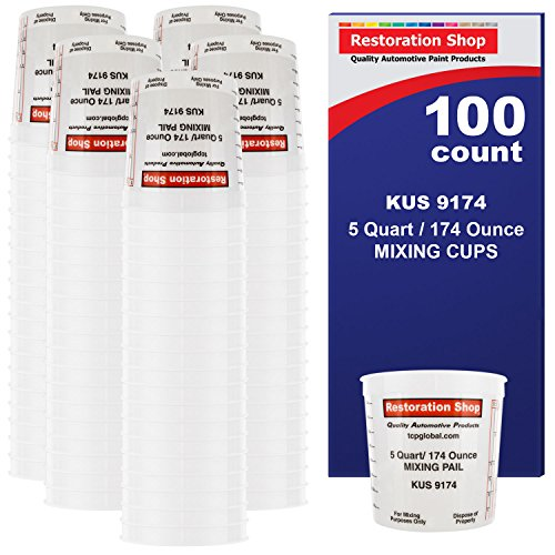 (BOX of 100 each - 160 Ounce PAINT MIXING CUPS = 5 QUART Bucket) by Restoration Shop - Cups have calibrated mixing ratios on side of cup BOX of 100 Paint and Epoxy Mixing Cups)