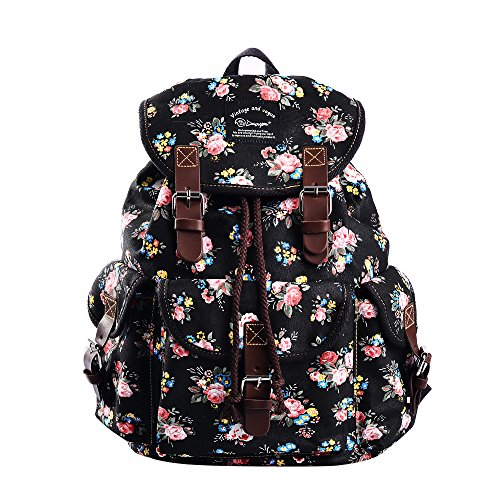 Epokris Teen Girls School Bookbag Rucksack Casual Daypack Floral Backpack for Elementary 297A (Black-2)