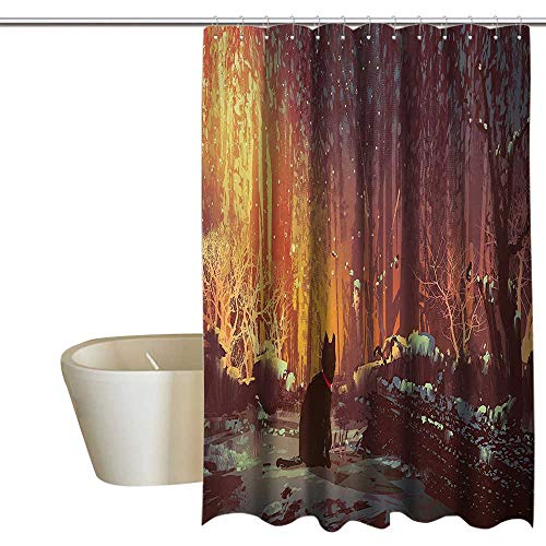 - Fantasy Art Decor Simple Shower Curtain Surreal Lost Black Cat Deep Dark in Forest with Mystic Lights Picture No Chemical Odor, Rust Proof Grommets 55