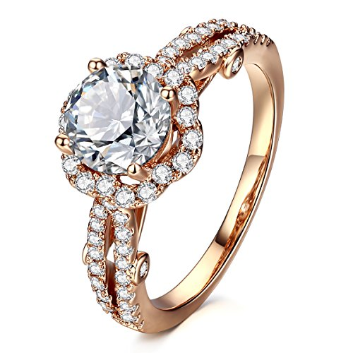 AllenCOCO Cubic Zirconia Ring 14K Rose Gold Plated Halo Engagement Wedding Rings Women