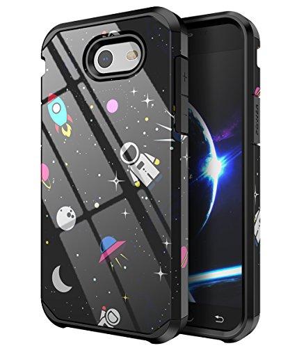 PBRO Galaxy J3 (2017) Case, Cute Astronaut Case Dual Layer Protective Anti-Scratch Shockproof Cover for Samsung Galaxy Express Prime 2/ Amp Prime 2/ Sol 2/ J3 Emerge/ J3 Prime/ J3 Luna Pro Space/Black