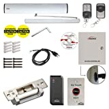 Visionis FPC-7362 110V Electric Automatic Door Opener + Closer for 440lb in-Swing Doors + 2 Wireless Remotes + VIS-7013 No Touch Exit Button + Access Control Reader with Software + Electric Strike