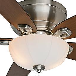 Casablanca Fan Company 54101 Durant 54-Inch Brushed Nickel Ceiling Fan with Five Walnut/Burnt Walnut Blades with Light Kit