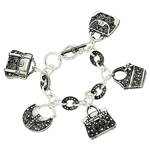 Marcasite Toggle Clasp - Purse Handbag Charm Bracelet BD Marcasite Look Detail Texture Silver Tone Gray Crystal