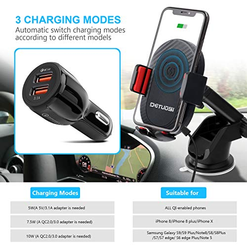 10W Wireless Car Charger, Detuosi Car Wireless Charger Car Phone Mount, Fast Charge for Samsung Galaxy S9/S8 plus/S8/S7/S6 Note 8/5, Standard Charge for iPhone X/8/8 Plus and all Qi Enabled Phones by DBNICE (Image #3)