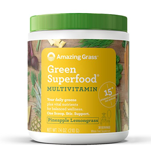 Amazing Grass Green Superfood Multi-Vitamin Powder and 7 Greens, 1 serving = 1 Multivitamin tablet, Flavor: Pineapple Lemongrass, 30 - Free Healing Caffeine Formula