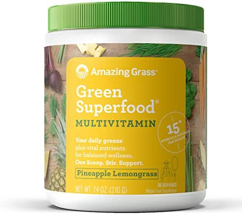 Amazing Grass Green Superfood Multi-Vitamin: Organic Plant Based Multi-Vitamin Powder packed with 15+ Vitamins & Minerals, Pineapple Lemongrass Flavor, 30 Servings
