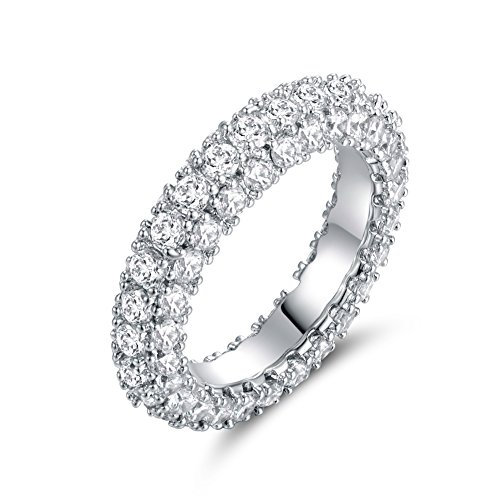 Barzel 18K White Gold Plated & Italian-Cut CZ 3 Row Eternity Ring (10) ()