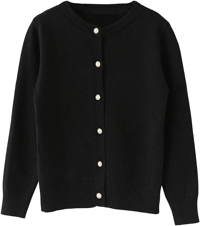 Classic Women Plain Cardigan Sweater Long Sleeve Knit Button Tops Blouse