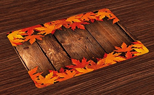 Ambesonne Fall Place Mats Set of 4, Dry Leaves Poured onto Wooden Board Cabin Cottage Rustic Country Life Theme Print, Washable Fabric Placemats for Dining Room Kitchen Table Decor, Brown Orange ()