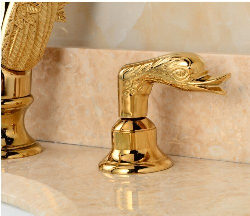 Gowe Modern Golden Brass Bathroom Basin Faucet Swan Vessel Sink Mixer Tap Dual Handle 1