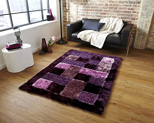 Global Home Brand New Hand Loom 5D Shaggy Floor mat for Living Room in (20×32 Inch, Purple), Same Design Available in Bigger Sizes