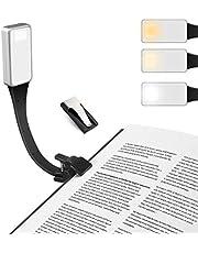E-More Leeslamp, LED boekenlamp Oplaadbaar Leeslampje Voor Nachtogen Boeklicht Cliplamp met 3 Helderheidsstanden, draagbare en flexibel werklampen voor nachtlezen, kantoor, boek, bed
