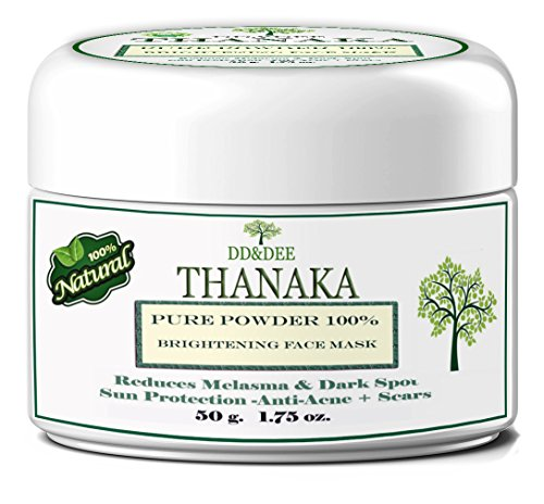 DD&DEE Thanaka Powder Naturals Pure 100% For Face Brightening Face Mask, Reduces Melasma & Dark Spot Treatment Help Anti-Acne, Aging, Acne Scars Removal ageless moisturizer 50 G.