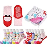 Epeius Baby Girls Anti Slip Cozy Socks with Stripes for 1-3 Years Non-skid Bowknot Stripe Infants and Toddlers Walkers Gift Sets (Pack of 12)