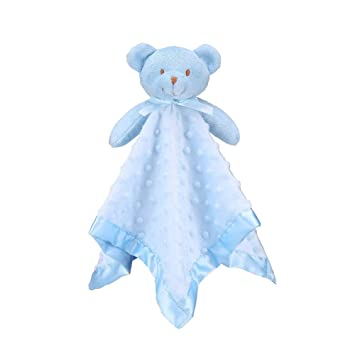 187f90d98a6 Baby Security Blanket with Plush Stuffed Animals Infant Comforter Blue Bear