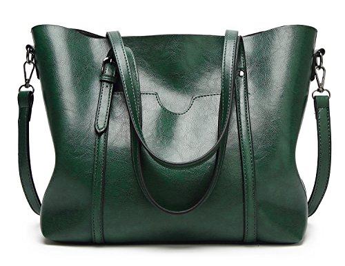 Tibes grande bolso hombro bolso totalizador trabajo bolso mujeres bolso PU cuero B verde