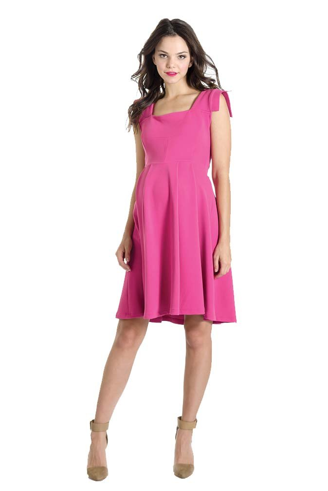 Lilac Rachel Vintage Inspired Fit And Flare Maternity Dress - Hot Pink - Small