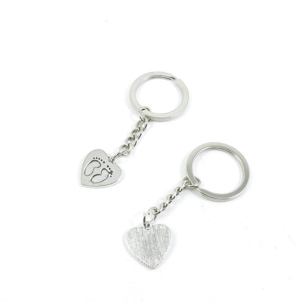100 Pieces Keychain Door Car Key Chain Tags Keyring Ring Chain Keychain Supplies Antique Silver Tone Wholesale Bulk Lots E4GJ7 Footprint Love Heart