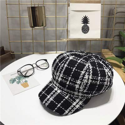 Junson Lovely Octagonal Cap Female Autumn and Winter Wild Tweed Small Incense Beret British Retro Black and White Plaid Duck Tongue Painter hat (Color : Black, Size : M(56-58cm)) for Winter