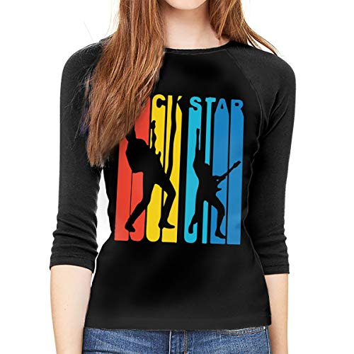 - Women's 3/4 Sleeve Tee Shirts Retro 1970's Style Rock Star Raglan Baseball T-Shirts Black