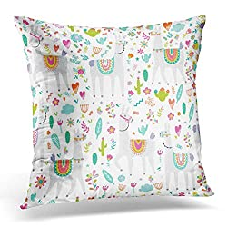 Emvency Throw Pillow Covers Blue Alarm with Llama Cactus and Creative Childdish Great Colorful Clock Decorative Pillow Case Home Decor Square 20 x 20 Pillowcase