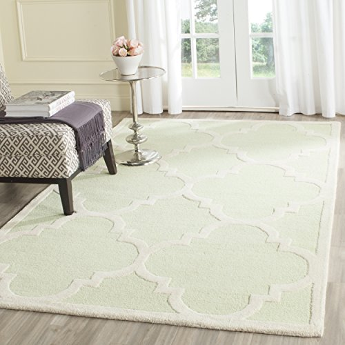 (Safavieh Cambridge Collection CAM140B Handcrafted Moroccan Geometric Light Green and Ivory Premium Wool Area Rug (3' x)