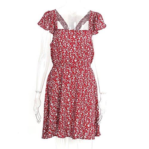 ... Backless marinha floral impressão vestido curto Mulheres de volta cinta cintura alta boho beach dress vestidos verão vestido Vintage vermelho: Clothing