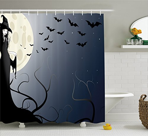 College Ideas For Halloween (Halloween Decorations Shower Curtain by Ambesonne, Wicked Witch in Twilight on High Hill in Dark Night Magic Fiction, Fabric Bathroom Decor Set with Hooks, 70 Inches, Black Yellow)