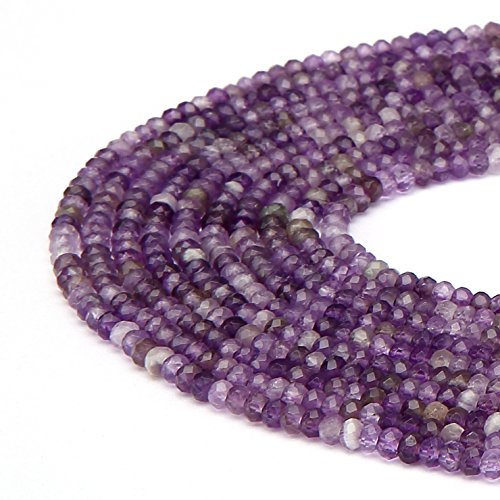(BRCbeads Natural Purple Amethyst Gemstone Faceted Rondelle Loose Beads 2.5x4mm Approxi 15.5 inch 140pcs 1 Strand per Bag for Jewelry Making)