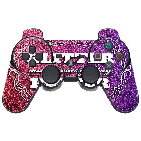 Glitter Makes Everything Better Print No real Glitter PS3 Dual Shock wireless controller Vinyl Decal Sticker - Everything Glitters