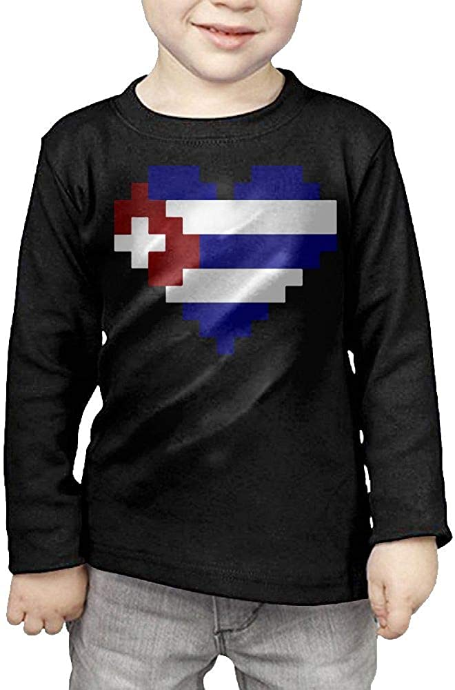 Little Girls Cuba Flag Pixel Art ComfortSoft Long Sleeve Shirt