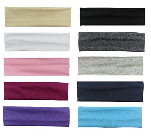 Styla Hair 10 Pack Yoga Headbands - Elastic Cotton Multi-Function Sports Head Bands Stretchy Wraps (Variety)]()